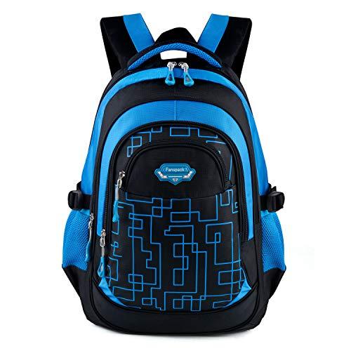 Schulranzen Jungen,Fanspack Schulrucksack Jungen Teenager Kinderrucksack Daypack Schulranzen Grundschule Backpack Schultasche für Jungen Teenager Jugendliche(Dunkelblau)