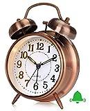 Retro Analog Wecker, Doppelglockenwecker mit Ohne Ticken Glockenwecker, Vintage Batteriebetrieben Laut Quarz Wecker Tischuhr mit Nachtlicht für Kinder Tiefschlaf Braun