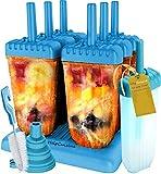 HelpCuisine® Ice Pop Mold/Moule à Glace, Moule Esquimaux realisé en Plastique de qualité superieur sans BPA et approuvé par la FDA, Lot de 6 sorbets avec Un Support, 24 Mois de Garantie! (Bleu)