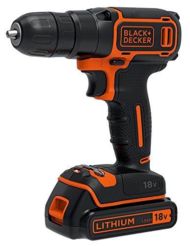 BLACK+DECKER BDCDC18KB-QW Perceuse visseuse sans fil - 18V - 1,5 Ah - 2 batteries - Chargeur inclus - Livrée en coffret