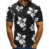 T-Shirt à Manches Courtes Boutons Floraux Imprimer Mens Design Demi Cardigans Malloom