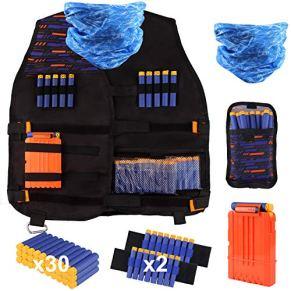 Satkago Kit de Chaleco Táctico de Niños Compatible con Nerf N-Strike Elite Series Incluido Bolsa de Bala, 30Pcs Espuma Dardos, 2Pcs 8-Dardos Correa de Muñeca, 1Pcs Bufanda, 1Pcs Clip rápido