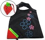 AKORD Unique Strawberry Nylon Foldable Reusable Shopping Bags, Black, 57.5 x 37.5 x 2 cm