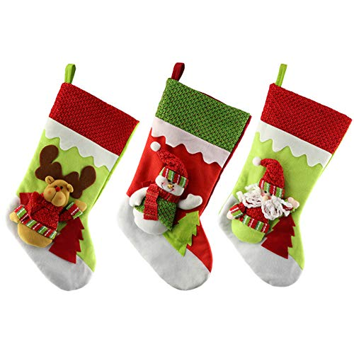 SueH Design Pack of 3 Christmas Stockings 48cm Appliques Velvet