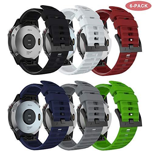 TOPsic Cinturino Garmin Fenix 6/Fenix 6 PRO/Fenix 6 Sapphire/Fenix 5/Fenix 5 Plus/Forerunner 935/945, 22mm Cinturino di Ricambio in Silicone Braccialetto Quick-Fit