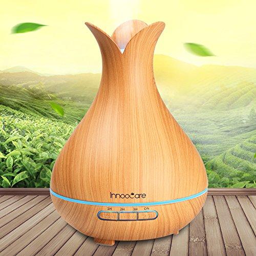 Aroma Diffuser 300ml InnooCare ätherisches Öl Zerstäuber Ultraschall Aromatherapie Holzmaserung Luftbefeuchter für frische Luft, Heim Dekoration, beste Geschenke für trockene Haut, Insomnie