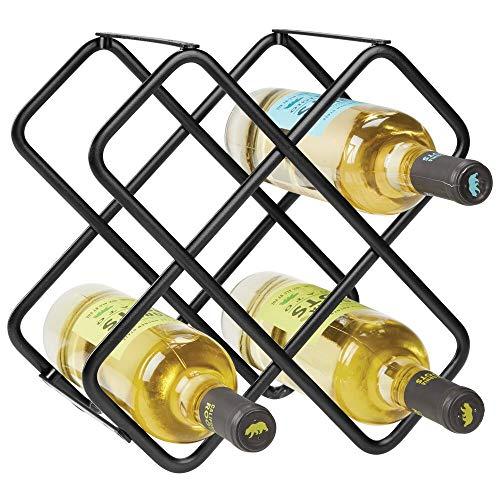 mDesign Scaffale per bottiglie di vino - Bellissimo portabottiglie in metallo per cinque bottiglie...