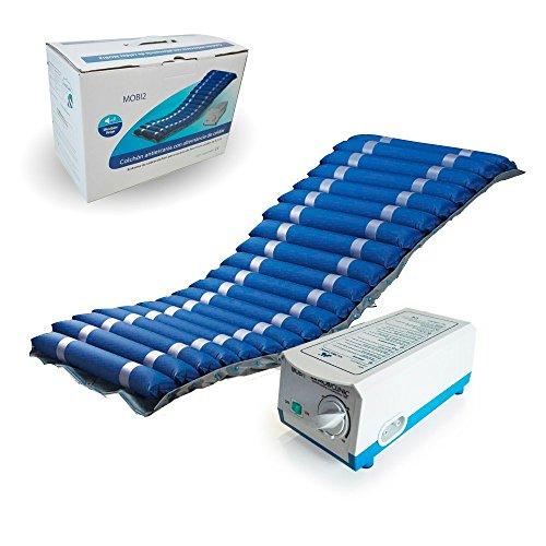 Materasso antidecubito con alternanza di cellette e compressore regolabile | Colore blu | Supporta...