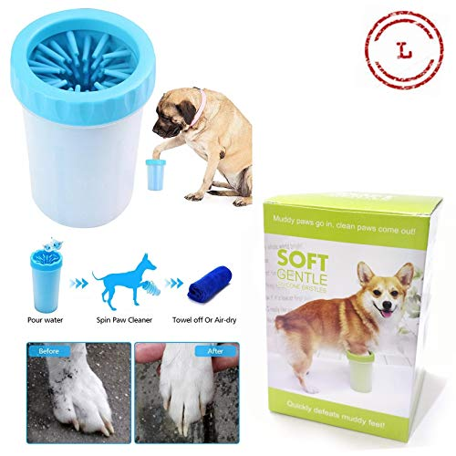 Petlicious & More Dog Paw Cleaner, Portable Washer Cleaning Brush Cup for Wash Away Sediment (Large) - Color May Vary