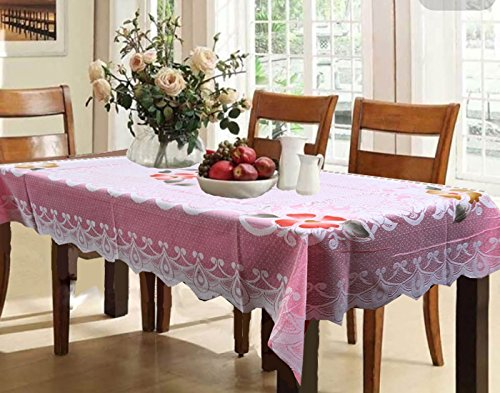 Kuber Industries Cotton 6 Seater Dining Table Cover - Pink
