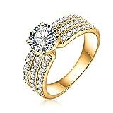 AMDXD Schmuck Damen Ringe Vergoldet Ring 3 Reihe Zirkonia mit Österreich Kristall Golden Ringe