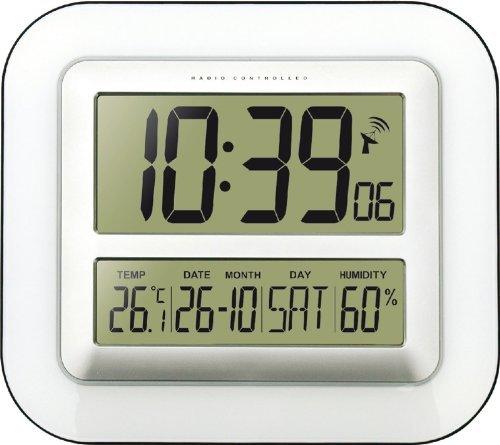 Technoline WS 8006 Orologio da parete radiocontrollato Jumbo Calendario Temperatura, bianco con le batterie