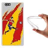 Funda Elephone M2, WoowCase [ Elephone M2 ] Funda Silicona Gel Flexible Jugador de Fútbol Bandera España, Carcasa Case TPU Silicona - Transparente
