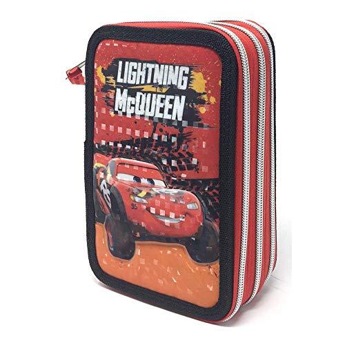 Cars- Astuccio Scuola Saetta McQueen Disney Pixar 3 Zip, Multicolore, CA0454