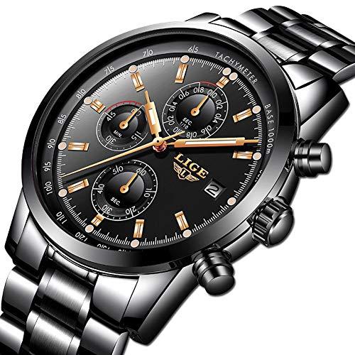 Orologi da uomo, LIGE Luxury Brand Cronografo multifunzione Sport Orologio al quarzo analogico Gents...