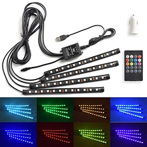 LED Auto Interni Kit,Decorazioni Auto Lampada Accendisigari 4 pc 48 LED WZMIRAI Neon Auto di...