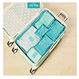 Custodia da viaggio organizer clothes Storage Bags PACKING Cube 6pcs un set, Sky Blue, as description