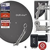 DUR-line 4 Teilnehmer Set - Qualitäts-Alu-Satelliten-Komplettanlage - Select 75/80cm Spiegel/Schüssel Anthrazit Quad LNB - für 4 Receiver/TV [Neuste Technik, DVB-S2, 4K, 3D]