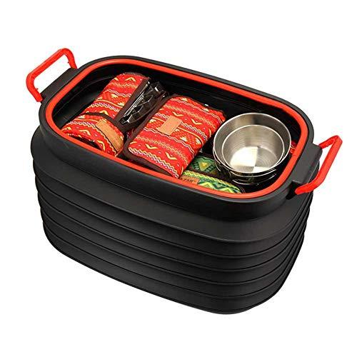 Grande plegable cubo, 37L retráctil de almacenamiento cubo recipiente con tapa portátil coche tronco papelera hogar Srorage organizador para interior al aire libre senderismo camping picnic pesca