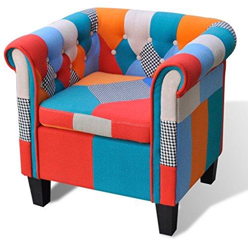 vidaXL Poltrona con Design Patchwork in Tessuto Elegante Relax Retrò Seggiola