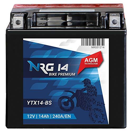 NRG Roller Batterie 14Ah 240A/EN 12V AGM Motorradbatterie YTX14-BS Quad Motorrad