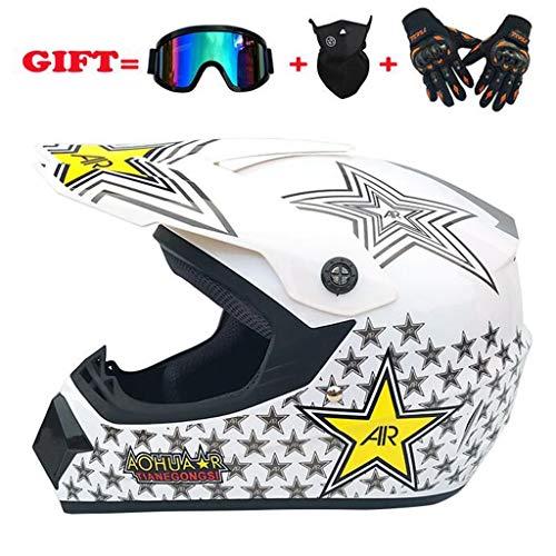 Casco moto casco off-road occhiali maschera guanti rigidi shell stagioni casco 4 colori (colore :...