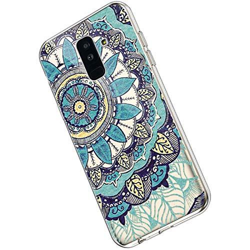 Ukayfe Compatible con Samsung Galaxy A6 Plus 2018 Custodia,Trasparente Silicone con Disegni Fiore di...