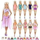 Miunana 5X MiniBikini Bañadores Verano Ropas Playa Traje de Baño + 5 Pares Zapatillas como Regalo para Muñeca Barbie 30 cm Doll - Estilo al Azar