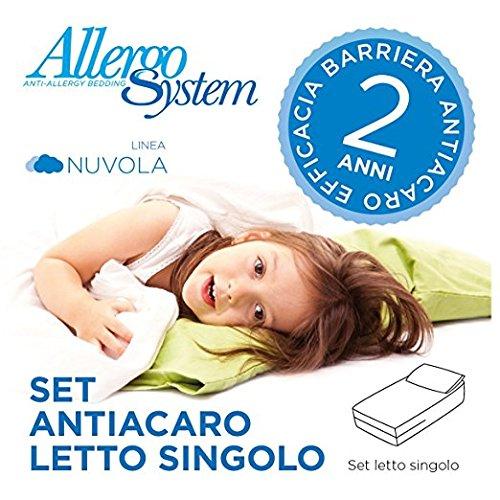 Allergosystem Set Antiacaro Composto da coprimaterasso con Cerniera per Letto Singolo, 90x200x20cm e...
