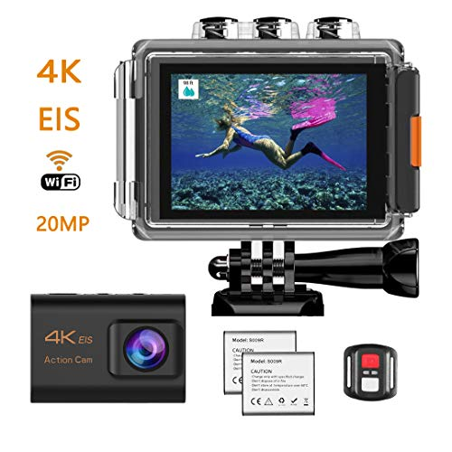 HENGKEXIN Action Cam 4K 20M WiFi Sensore Impermeabile Fino a 30M, Schermo LCD 2 Pollici Wild Angle 170°,2 Batterie Ricaricabili,Telecomando e Kit di Montaggio ...