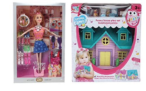 CADDLE & TOESTM Doll House for Girls / Barbie Doll Set with Pink Slippers Doll , 10 Sets of Fashion Accessories, Dress,earings + a Cute Doll House with Doll Free