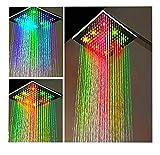 Grand de douche pommeau de douche pluie carré LED Changement de couleur env. 22,5x 22,5cm-7couleurs Changement de couleur arc-en-ciel Multicolore-Idéal pour la maison et Hôtel-s'allume Multicolore