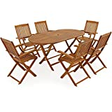 Deuba Sitzgruppe Boston 6+1   FSC-zertifiziertes Akazienholz 7-TLG Tisch klappbar   Sitzgarnitur Holz Gartenmöbel Set