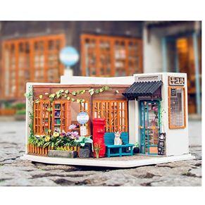 KQKLQQ Puzzles 3D Miniatura casa de muñecas DIY, Estilo Chino Montaje Modelo Pasando Regalo del día de los Niños de la librería
