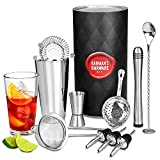 bar@drinkstuff 2 barman's barware kit Premium with Boston tin & Glass, Jigger Measure, Muddler, Twisted Mixing Spoon, Pourers, Hawthorne Strainer, Julep Conical Sieve, Glass