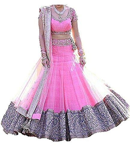 Akk Enterprise Women's Silk Lehengha Choli Lehenga Choli (3723378031_Blue_Free Size)