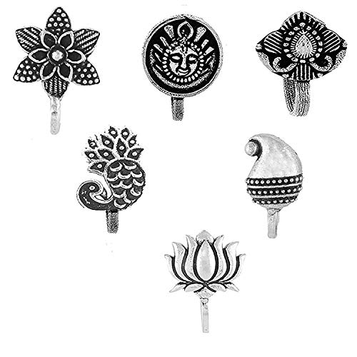 Om Jewells Silver Oxidised Immitation Jewellery Combo of 6 Classy Press on Nose Pin/Nose Ring made for Girls and Women CO1000179