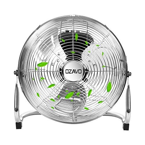 OZAVO Standventilator, Windmaschine ⌀36/48/54 cm mit 3 Laufgeschwindigkeiten, Bodenventilator Power, Tischventilator Metall, Luftkühler, verstellbare Neigungswinkel, 45/80/100 W (⌀36cm)