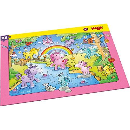 Haba 303706 - Puzzle con cornice a forma di unicorno con glitter, 25 pezzi in cartone con effetto...