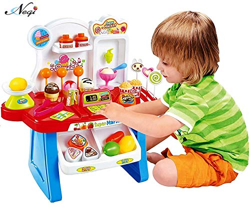 Negi 34 Pieces Battery Operated Kids Mini Super Market Play Toy Set with Light and Sound Effect Pretend Play Toy for Kids (Colour May Vary) (Kids Mini Market)