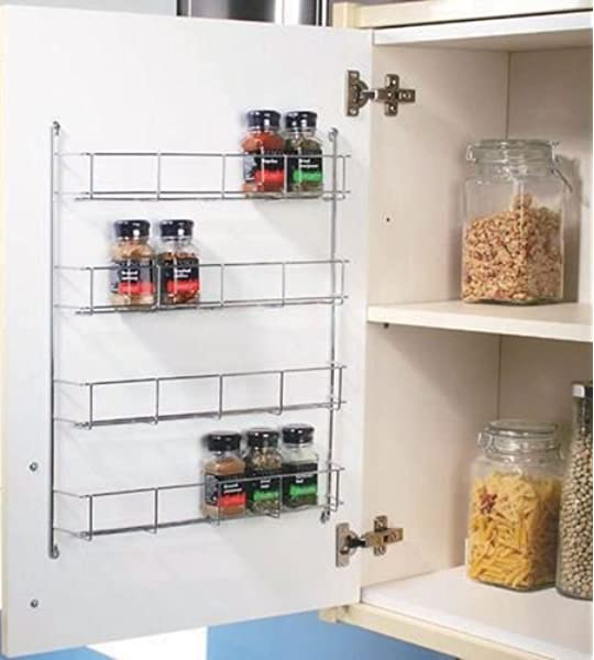 Chrome Plated 4 Tier Spice Rack Cabinet Cupboard Organiser Storage Jar Rack Amazon Co Uk Kitchen Home
