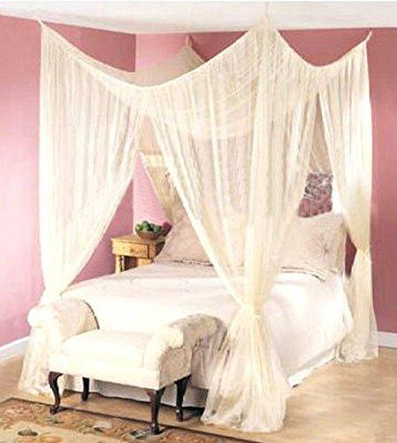 KIKAR tende per letto a baldacchino color panna, per i quattro angoli