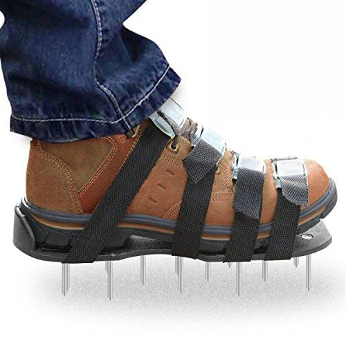 Suelas de zapatos de con pintas para andar en el césped, sandalias de aireación, eficaz, 4 correas ajustables y resistentes con hebillas de metal, tamaño universal que se adapta a todos zapatos, negro