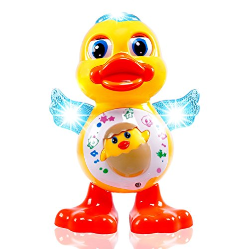 Popsugar Musical Dancing Duck Toy with Real Dance Action, Music and Flashing Lights for Kids, Yellow