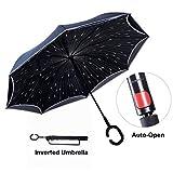 TravelEase Parapluie Inversé avec Bandes Réfléchissantes, Parapluie Inversé de Voiture Double Couche, Parapluie Debout avec Dépliage Automatique, Poignée en Forme de C (Pluie de Météorites)