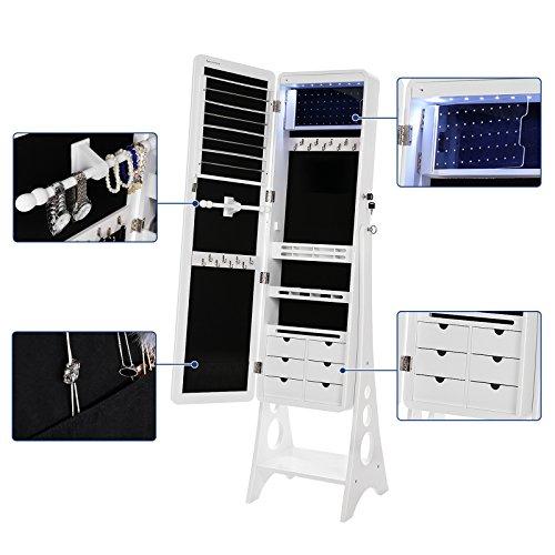 SONGMICS Schmuckschrank mit 8 LEDs mit abgerundeten Kanten, Spiegel, abschließbarer Schmuckorganizer mit 6 Schubladen und Ohrring Aufbewahrung, Weiß JBC89WT - 4