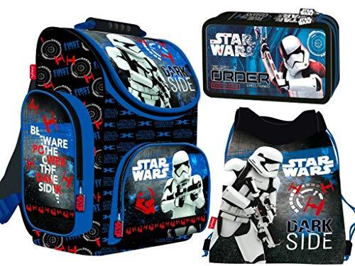 3-teiliges Schulranzenset Star Wars Schulranzen, 2-fache gefüllte Federtasche, Schuhbeutel für Jungen Star Wars Motiv