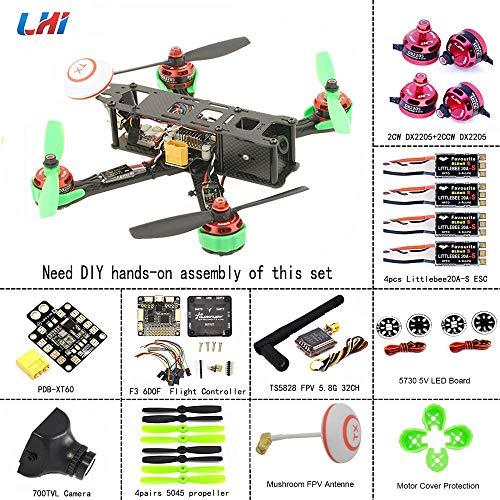 LHI 220mm Full Carbon Frame + DX2205 2300KV Brushless Motor + Regolatore Littlebee 20A + PRO SP Racing F3 Regolatore di Volo Acro + 5045 Propeller FPV Quadcopter ARF Kit