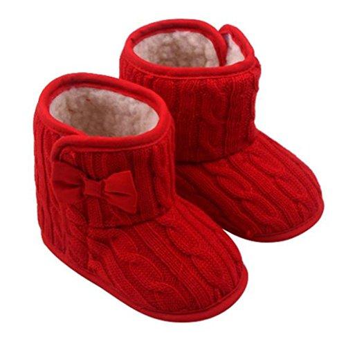 Inverno Caldo Baby Infant Fondo Morbido Carina Animale Stivali Anti Scivolo Stivali Toddler Prewalkers Baby Shoes Pattini di Bambino 0-18 Mesi (età: 6~12 Mesi, Rosso)