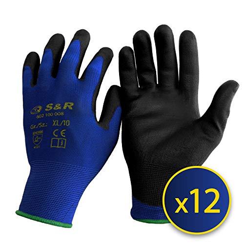 S&R-12 Paia Guanti da Lavoro protettivi in fibra di nylon con rivestimento in poliuretano. Misura...